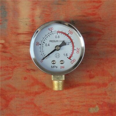 Pressure Gauge 60 MM Dial Bottom Connection 0-230 PSI Air Pneumatic Hydraulic