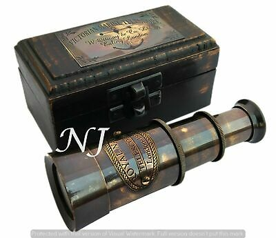 Victorian Brass Telescope w Box Antique Finish Nautical Maritime Spyglass Telesc