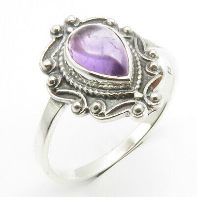 Sterling Silver Amethyst Antique Look Ring Size 10.25 Modern Fashion Jewelry