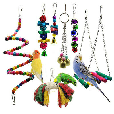 7PCS Beaks Metal Rope Small Parrot Budgie Cockatiel Cage Bird Toys New