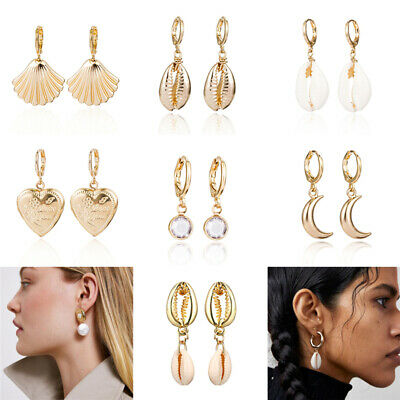 Women Shell Statement Metal Earrings Fashion Gold Hoop Boho Dangle Earrings NEW
