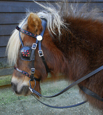 Complete Set of Mini Shetland Driving Harness with Red Trim and Tan Reins
