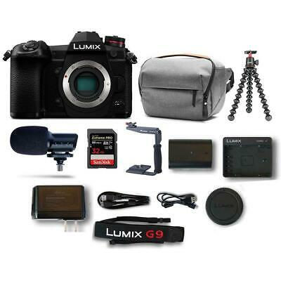 Panasonic Lumix G9 Mirrorless Camera Body, Black With Accessory Bundle