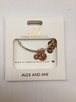 Disney Parks Alex And Ani Bracelet Rose Gold Mickey Ears With Silver Bangle New