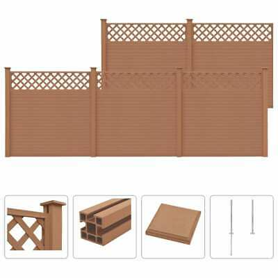 vidaXL WPC Fence Set with Trellis 5 Square 879x185cm Brown Garden Board Panel