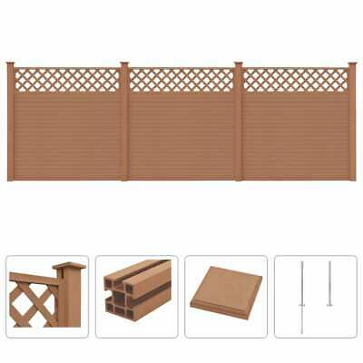 vidaXL WPC Fence Set with Trellis 3 Square 531x185cm Brown Garden Board Panel