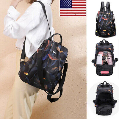 Women Oxford Cloth Nylon Waterproof Backpack Travel Anti-theft School Bag JR15