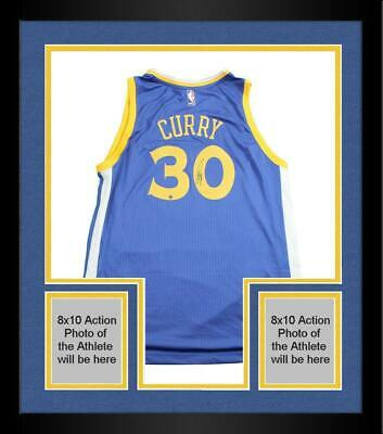 Framed Stephen Curry Golden State Warriors Signed Blue Adidas Swingman Jersey