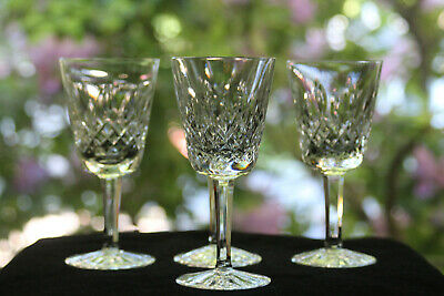 "Waterford, ""Lismore"" Cut Crystal White Wine Glasses (4)"
