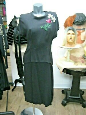 Antique Vintage Art Deco 1920's 30's 40s Black beaded cocktail dress Flapper era