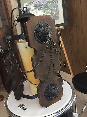 Vintage Gothic Wood Metal Chains Hanging Swag Lamp