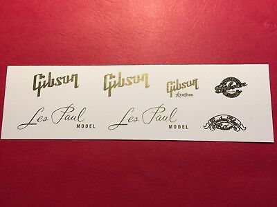 Gibson and Les Paul Waterslide Headstock Decals & Custom Shop Assortment Gold