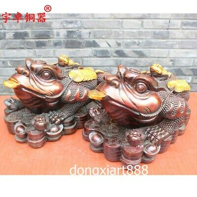 51 cm Pure Bronze Chinese Fengshui Animal three Leg Money toad bufonid Statue
