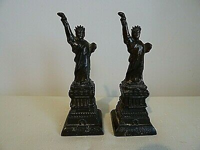 "Pair Vintage Caste Copper Metal 5.5"" Tall Souvenir Statue Of Liberty Figurines"