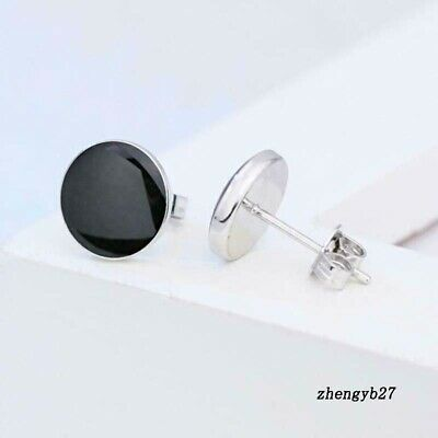 Plating Earrings Gift Silver Men Women Round Black Small Ornaments Crystal Stud
