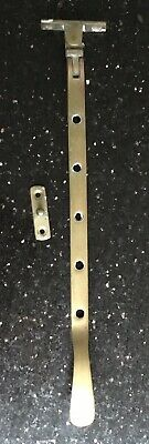 """Old Vintage Antique Brass 4 Hole Casement Window Stay Arm And Stopper 11"""" Long"""