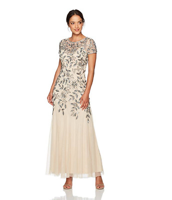Adrianna Papell Petite Floral Silber Wulstig Godet Abendkleid 2P Taupe Pink