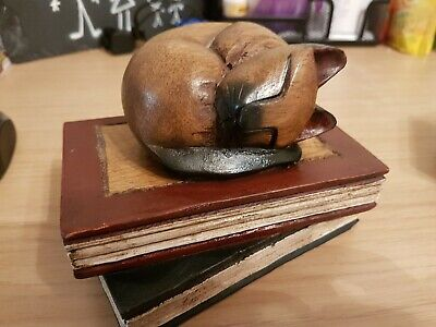 Wooden Cat On Books Sleeping Cat