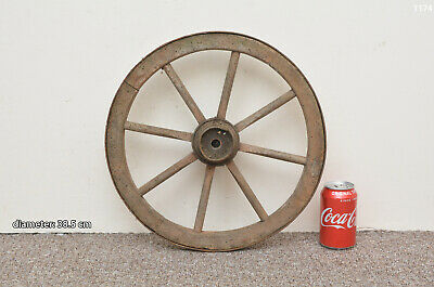 Vintage old wooden cart wagon wheel  / 38.5 cm - FREE DELIVERY