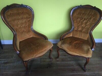 Pair of Vintage Mid Century Parlour Bedroom Chairs Retro 1920's