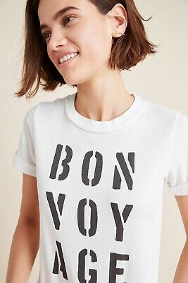 77576bd9 NEW ANTHROPOLOGIE Sz S BON VOYAGE CUFFED GRAPHIC T TEE SHIRT BY SOL ANGELES