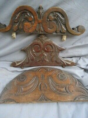 Three 17Th / 19Th Century Oak Carved Furniture Mount And Furniture Tops