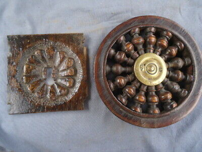 Two 18Th Century  Antique  Oak Carved Key Hole And Spindle Panel