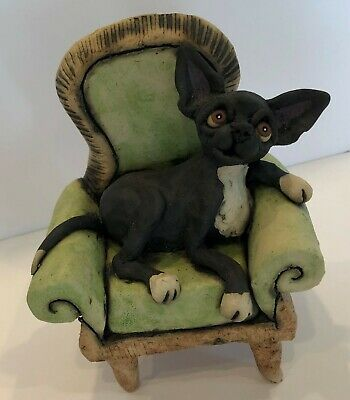 Original One Of A Kind Ceramic Whimsical Chihuahua On Chair
