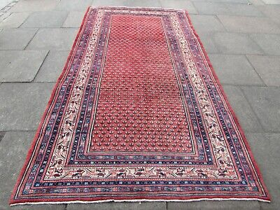 Old Hand Made Traditional Persian Rug Oriental Wool Red long Rug 302x166cm