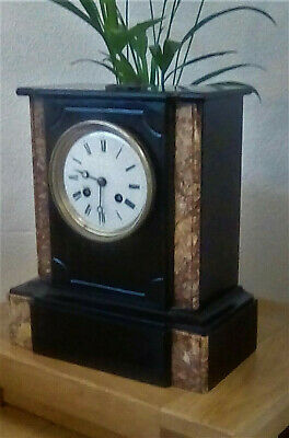 Antique French Polished Slate & Rouge Marble 8 Day Mantle Clock by De Bronze