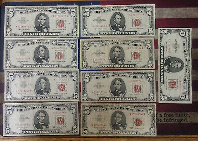 Nine 1963 Red Seal $5 United States Notes
