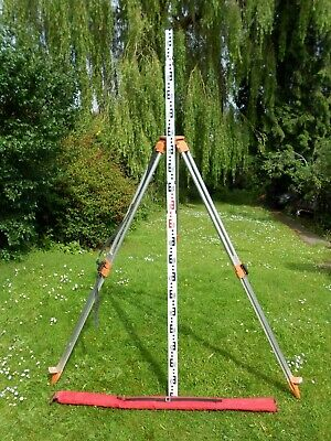 SURVEYING   TRIPOD AND 5m   STAFF GOOD USED CONDITION