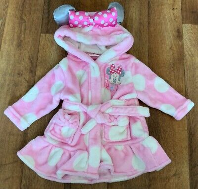 Disney Minnie Mouse Baby Girls Dressing Gown 3-6 Months Vgc