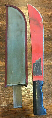 "Vintage - COLLINS PLYMOUTH MACHETE , 13 3/8"" BLADE - Red w/ sheath"