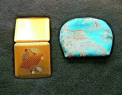 Wadsworth Compact w Fan Decor in Small Oriental Bag Vintage 1950's KY