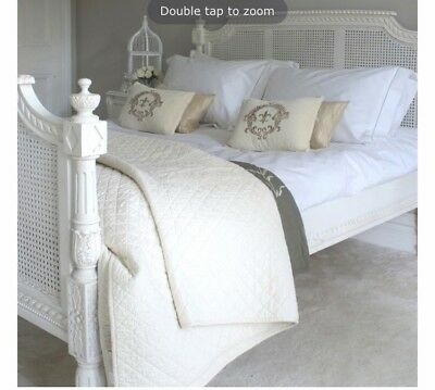 Stunning Sweetpea & Willow Ivory/cream Rattan / Wood French King Size Bed Frame