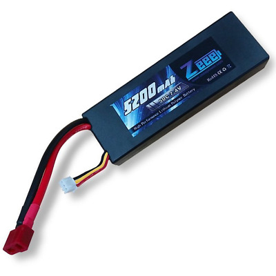 Zeee 5200mAh 7.4V 2S 50C LiPo Battery Hard Case with Deans T Plug for RC Car