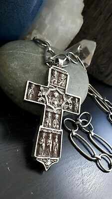 Antique Early Byzantine Gothic Cast Silver Crucifix w/ Miniature Icons