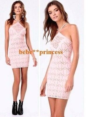 NWT bebe M L ivory pink triangle neck slash overlay lace top bodycon dress sexy