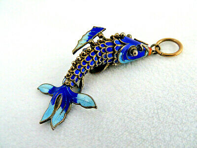 Vintage 1960's Chinese Cloisonne Sterling Silver w/ Gilt Articulated Koi Fish