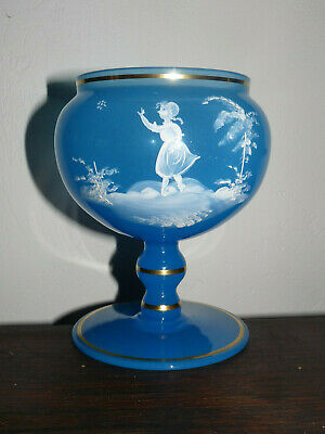 Vintage Peacock Blue Opaline Mary Gregory Enameled Stemmed Compote