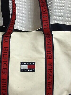 faa9dc366cf VINTAGE Tommy Hilfiger Canvas Boat Tote Bag Spell Out Flag Shopper Weekender