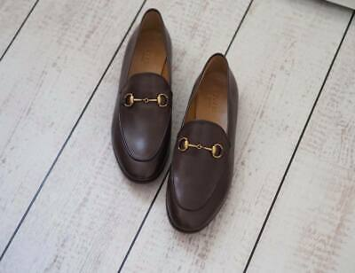 d6371a68f AUTH GUCCI JORDAAN Brown Leather Horsebit Loafers Size 38.5 US 8/8.5 ...