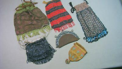 6 Antique Gatsby Beaded Purses Flapper Bags Restore As is Lot