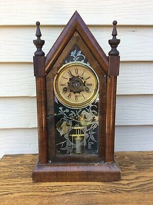 "Antique Ansonia "" small sharp gothic"", Steeple Cottage Shelf Clock Parts / Resto"