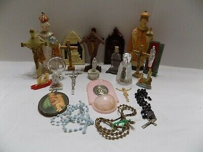 Lot of Religious Items Rosaries, Fonts, Crosses, Planter, Figure, More (3)