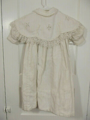 Antique Edwardian Child's Dress Christening Gown White Lace Bib Collar 18/24Mo