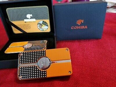 COHIBA Yellow Finish Classic Torch Jet Flame Cigar Lighter W/ Punch New Design
