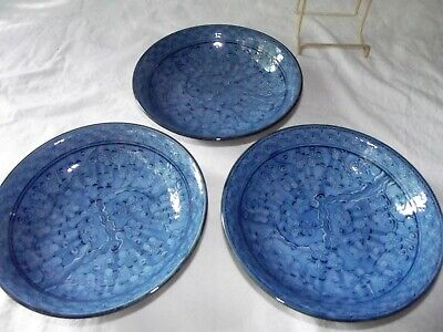 "(3) BOWLS 7-1/4"", JAPANESE PORCELAIN Blue Arita Ware Prunus Cherry Blossoms"