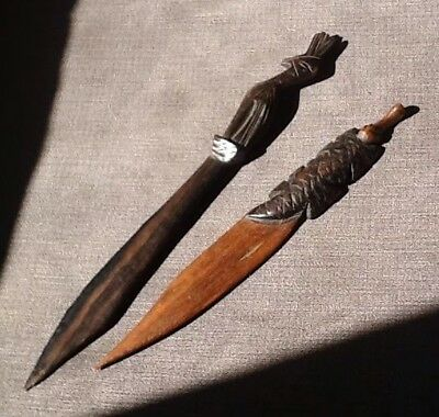 Two Antique Carved Wooden Letter Openers.Tropical Bird & Ant Eater / Platypus ?
